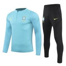 21-22 Brazil Blue Half Pull Sweater Tracksuit