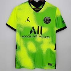 2021 PSG Jordan Fourth Fluorescent Green Fans Soccer Jersey