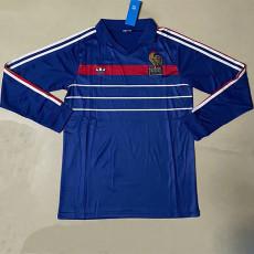 1984 France Home Long Sleeve Retro Soccer Jersey