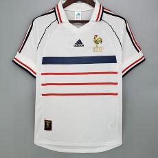 1998 France Away White Retro Soccer Jersey