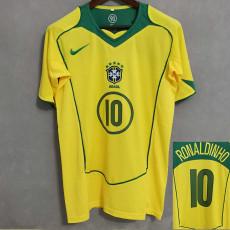 RONALDINHO 10 # 2004 Brazil Home Retro Soccer Jersey