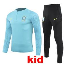20-21 Brazil Light blue Kids Half Pull Sweater Tracksuit (童装)