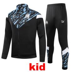 21-22 Marseille Black Kids Jacket Tracksuit (童装)
