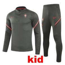 20-21 Portugal Dark green Kids Half Pull Sweater Tracksuit (童装)