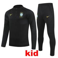 21-22 Brazil Black Kids Half Pull Sweater Tracksuit (童装)