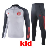 20-21 Bayern Gray Kids Half Pull Sweater Tracksuit (童装)