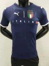 21-22 Italy Goalkeeper Blue Player Version Soccer Jersey