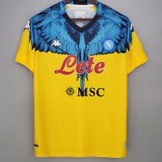 2021 Napoli NAPOLES MARCELO BURLON LIMITED EDITION Yellow Fans Soccer Jersey