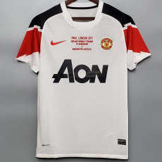 2010-2011 Man Utd UCL Version Away White Retro Soccer Jersey(胸前决赛字)