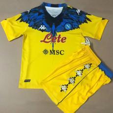 2021 Napoli NAPOLES MARCELO BURLON LIMITED EDITION Yellow Kids Soccer Jersey