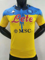 2021 Napoli NAPOLES MARCELO BURLON LIMITED EDITION Yellow Player Version Soccer Jersey
