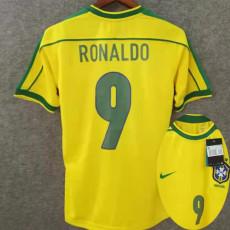 1998 Ronaldo # 9 Brazil Home Retro Soccer Jersey