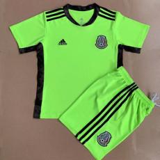 21-22 Mexico Green Goalkeeper  Kids Soccer Jersey