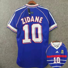 1998 ZIDANE #10 France Home Blue Retro Soccer Jersey