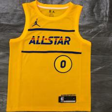 Copy 2021 ALL STAR LILLARD # 0 Yellow Top Quality Hot Pressing NBA Jersey