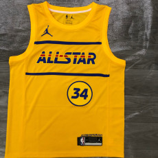 2021 ALL STAR Antetokounmpo # 34 Yellow Top Quality Hot Pressing NBA Jersey