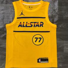 2021 ALL STAR Dončić # 77 Yellow Top Quality Hot Pressing NBA Jersey