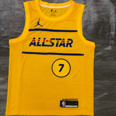 2021 ALL STAR BROWN # 7 Yellow Top Quality Hot Pressing NBA Jersey