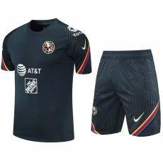 21-22 Club America Navy blue Training Short Suit (短裤拉链口袋)