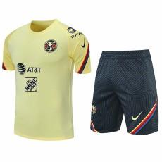 21-22 Club America Yellow Training Short Suit(短裤拉链口袋)