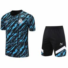 21-22 Marseille Black Blue Training Short Suit(短裤拉链口袋)