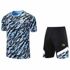 21-22 Man City Blue Black Training Short Suit(短裤拉链口袋)