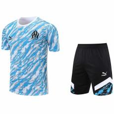 21-22 Marseille White Blue Training Short Suit(短裤拉链口袋)
