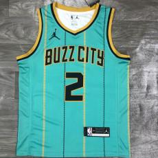 New Hornets Jordan BALL #2 Blue Green Top Quality Hot Pressing NBA Jersey