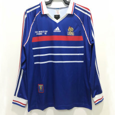 1998 France Home Long Sleeve Retro Soccer Jersey(带决赛字)