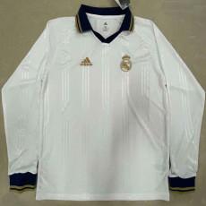 RMA White Long Sleeve Retro Soccer Jersey