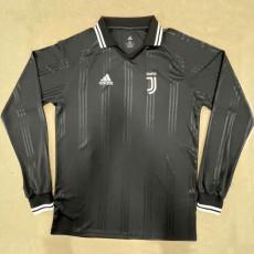 JUV Black Long Sleeve Retro Soccer Jersey