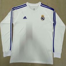 RMA White White Long Sleeve Retro Soccer Jersey
