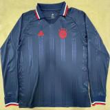 Bayern Blue Long Sleeve Retro Soccer Jersey
