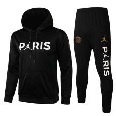 21-22 PSG Jordan Black Hoodie Jacket Tracksuit(白字小飞人,不拉链)