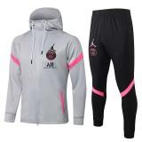 21-22 PSG Jordan Light gray Hoodie Jacket Tracksuit