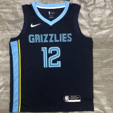 Grizzlies Morant #12 Blue Top Quality Hot Pressing NBA Jersey