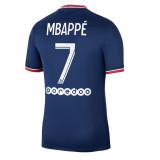 MBAppé 7 #  21-22 PSG Paris Home Fans Soccer Jersey (带袖子&背下广告)