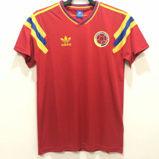 1990 Colombia Away Red  Retro Soccer Jersey