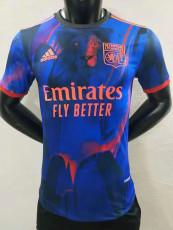 2021 Lyon Blue red black Player Version Soccer Jersey