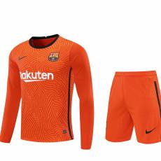 20-21 BAR Orange Goalkeeper Long Sleeve Soccer Jersey (Full Sets )
