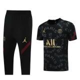 21-22 PSG Jordan Black Short-sleeved Cropped trousers suit(七分裤套装)