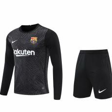 20-21 BAR Black Goalkeeper Long Sleeve Soccer Jersey (Full Sets )