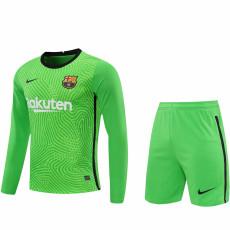 20-21 BAR Green Goalkeeper Long Sleeve Soccer Jersey (Full Sets )