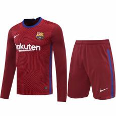 20-21 BAR Red Goalkeeper Long Sleeve Soccer Jersey (Full Sets )