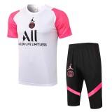 21-22 PSG Jordan White Pink Short-sleeved Cropped trousers suit(七分裤套装)