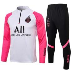 21-22 PSG Paris Jordan Pink White Half Pull Sweater Tracksuit(黑色拉链)