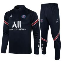 21-22 PSG Paris Jordan Royal blue Half Pull Sweater Tracksuit