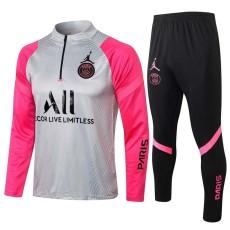 21-22 PSG Paris Jordan Light Gray Pink Half Pull Sweater Tracksuit