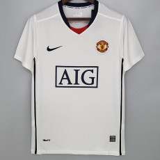 2009 Man Utd  Away White Retro Soccer Jersey