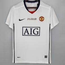 2009 Man Utd  Away White Retro Soccer Jersey (带决赛字)